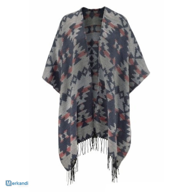 e432c8a52bf12a Tom Tailor poncho with fringes blue gray   Women's clothing ...